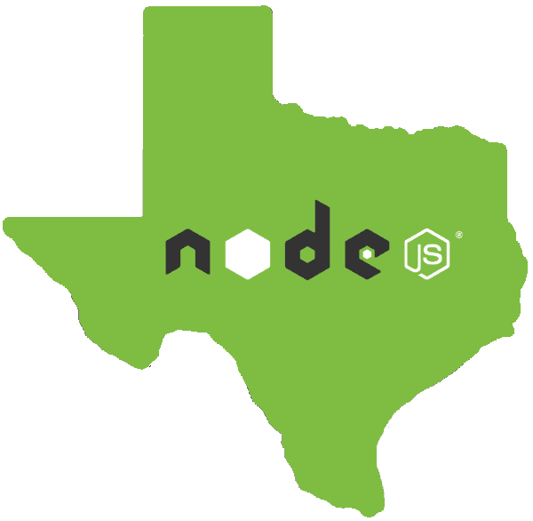Node.js logo in the state of Texas